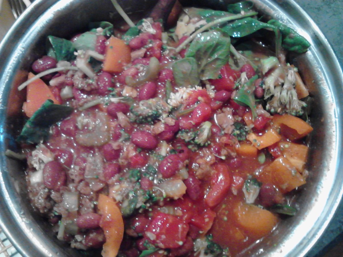 051716 2ChiliBeans 1Tomatoes spinach OrangePepper Brocoli Onion Celery